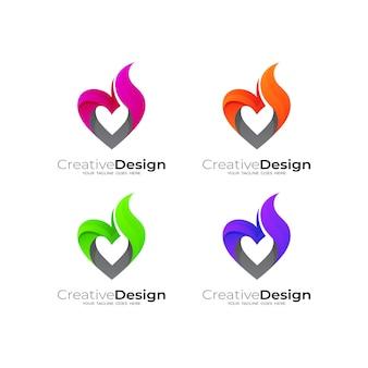 Logo astratto di amore con modello di progettazione del fuoco, stile semplice