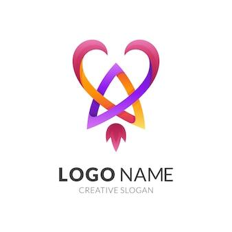 Logo astratto di amore con design a razzo, modello di logo di linea semplice
