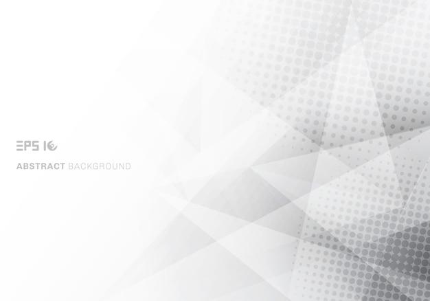 Poligono astratto basso poli triangoli bianchi e grigi