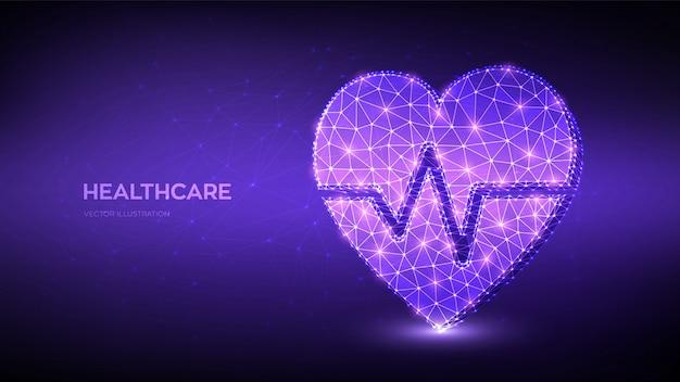 Icona del cuore poligonale basso astratto con la linea del battito cardiaco. concetto di sanità, medicina e cardiologia.