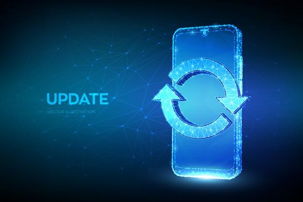 Smartphone poligonale basso astratto con segno di aggiornamento o sincronizzazione. aggiornamento, sincronizzazione, concetto di elaborazione.