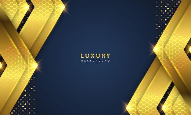 Strati sovrapposti di sfondo di lusso astratto su spazio scuro con effetto bagliore dorato
