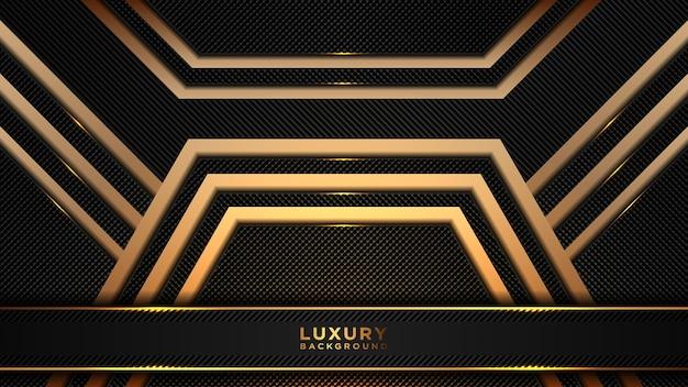 Fondo poligonale di lusso astratto nero e oro. sfondo moderno a strati sovrapposti scuri.