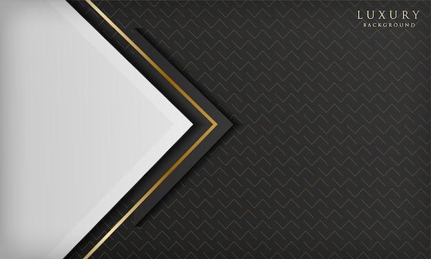 Sfondo bianco e nero di lusso astratto con forma triangolare ed elementi lineari dorati