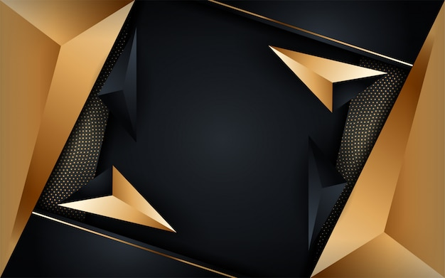 Fondo scuro di lusso astratto con combinazioni di linee dorate. sfondo futuristico moderno