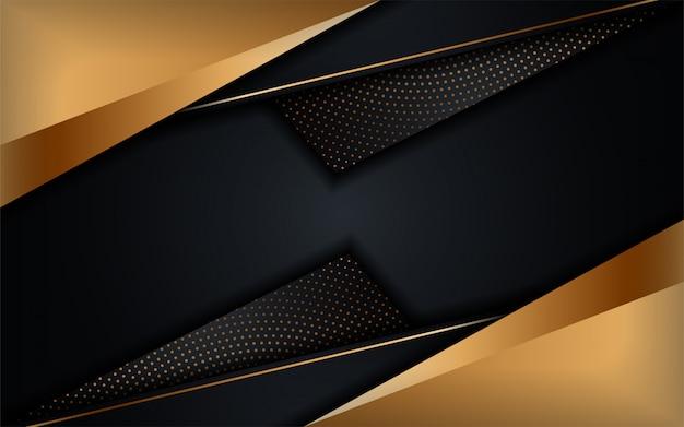 Fondo scuro di lusso astratto con combinazioni di linee dorate. sfondo futuristico moderno Vettore Premium