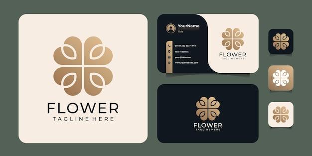 Logo minimalista astratto fiore foglia di lusso flower