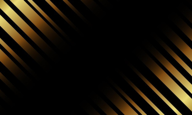 Linea astratta di strisce dorate di lusso su sfondo nero