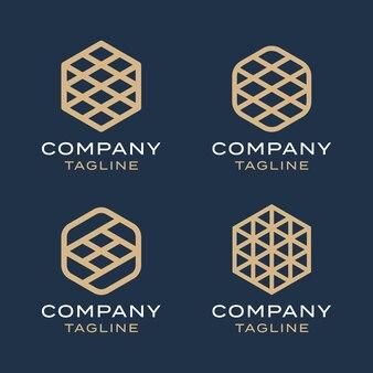 Insieme di modelli di progettazione di logo di oro monoline geometria linea esagonale di lusso astratto