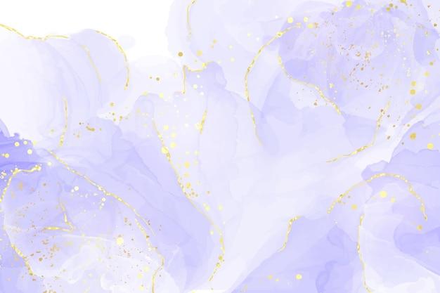 Fondo dell'acquerello liquido lavanda di lusso astratto con crepe dorate