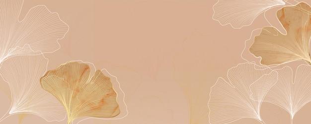 Sfondo vettoriale di lusso astratto con foglie di ginkgo per banner web o packaging.