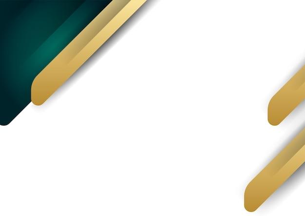 Strato di sovrapposizione di sfondo bianco di lusso astratto con elementi decorativi di forme dorate e verdi. adatto per sfondo di presentazione, banner, pagina di destinazione web, interfaccia utente, volantino, banner