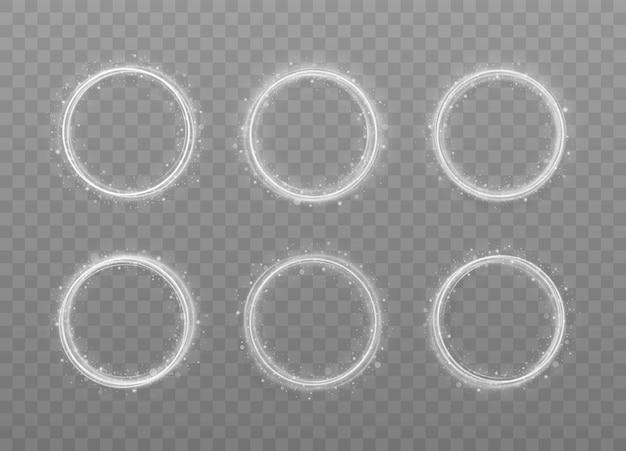 Anello luminoso bianco di lusso astratto con effetto traccia. cerchio di vettore di linea bianca effetto luce.