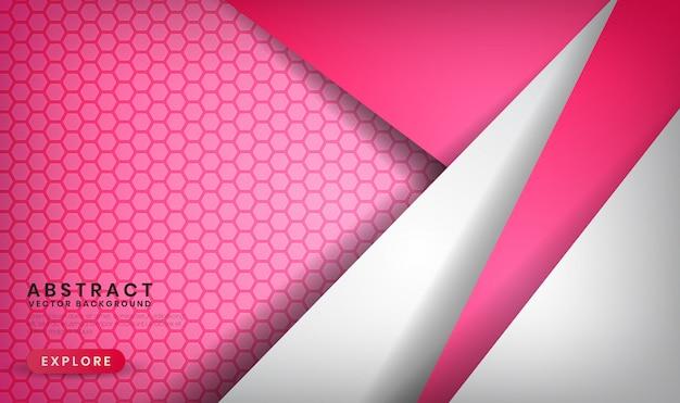 Fondo bianco e rosa di lusso astratto con i modelli di esagono