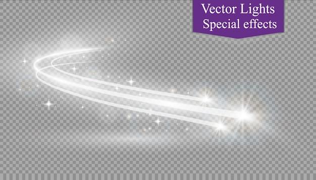 Effetto di luce astratta bagliore magico stella con linee curve sfocatura al neon. traccia scintillante della stella della polvere con bokeh.