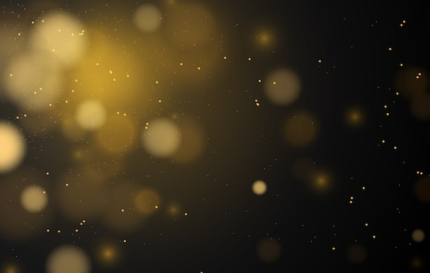 Bokeh magico astratto luci effetto sfondo, nero, glitter oro per natale