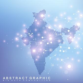 Mappa astratta della connessione di rete globale del paese dell'india. tecnologia di fondo plesso futuristico