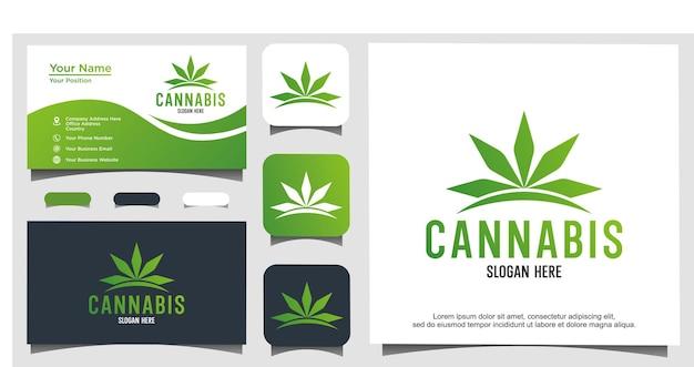 Disegno astratto del logo di marijuana cannabis ganja