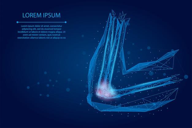 Linea di poltiglia astratta e articolazione del braccio umano a punta. illustrazione bassa di vettore di trattamento di cura del dolore di cura del gomito poli basso