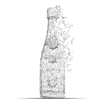 Linea di poltiglia astratta e bottiglia di champagne