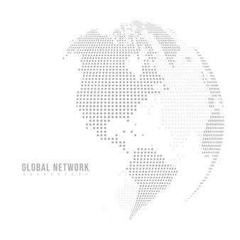 Linee astratte di poltiglia e scale a punti su sfondo bianco con global. punto e struttura.