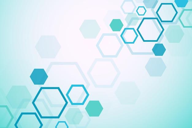 Fondo medico astratto. ricerca sul dna. molecola a struttura esagonale e sfondo di comunicazione per medicina, scienza, tecnologia. illustrazione vettoriale.