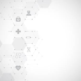 Fondo medico astratto con icone e simboli piatti