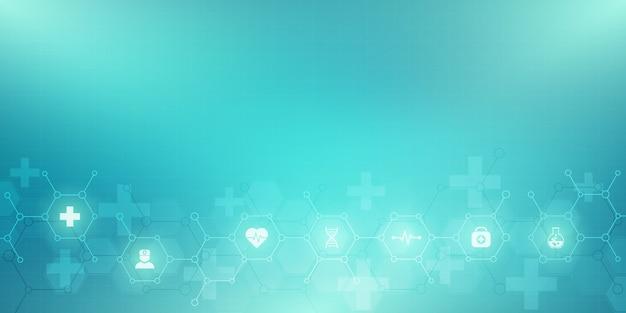 Fondo medico astratto con icone e simboli. modello con concetto e idea per tecnologia sanitaria, medicina dell'innovazione, salute, scienza e ricerca.
