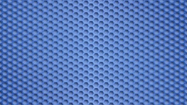 Fondo astratto del metallo con i fori esagonali nei colori blu