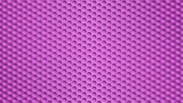 Sfondo metallico astratto con fori esagonali in colori viola
