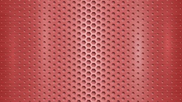 Fondo astratto del metallo con i fori esagonali nei colori rossi