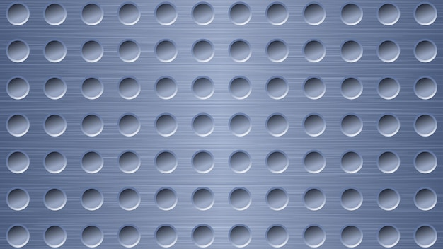 Fondo astratto del metallo con i fori nei colori blu