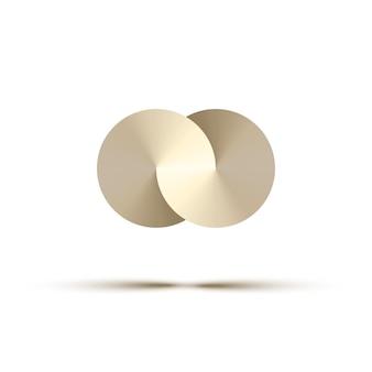 Cerchi di metallo astratti, elemento di design del logo.