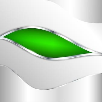 Fondo metallico astratto con l'elemento verde. illustrazione vettoriale.
