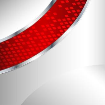 Fondo metallico astratto con l'elemento rosso. illustrazione vettoriale.