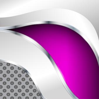 Fondo metallico astratto con l'elemento viola. illustrazione vettoriale.