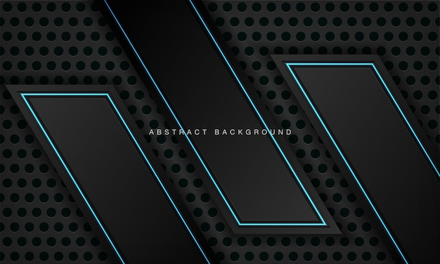 Modello di progettazione di tecnologia moderna con layout di cornice nera metallica astratta con effetto luce blu