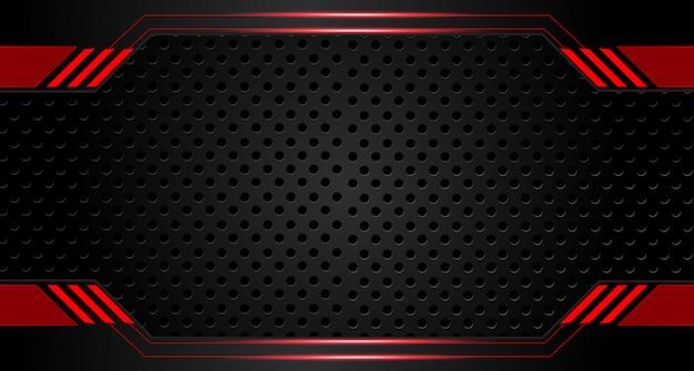 Fondo nero rosso metallico astratto di concetto dell'innovazione di tecnologia di progettazione della disposizione della struttura