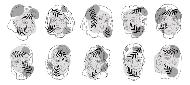 Arte linea viso minamal astratta. impostare lo schizzo di donne eleganti. illustrazione.