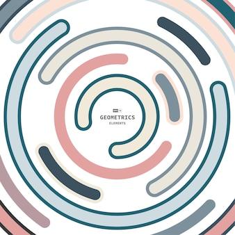 Disegno astratto di colori minimi della copertura del modello della linea della striscia del cerchio. fondo di progettazione del materiale illustrativo dell'illustrazione del centro. illustrazione vettoriale