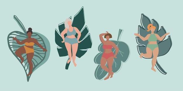 Personaggi femminili minimali astratti con foglie di piante concetto di positività e diversità del corpo