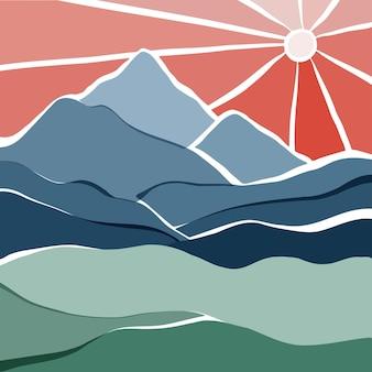 Paesaggio minimale astratto con montagne, fiume e sole illustrazione vettoriale piatta disegnata a mano