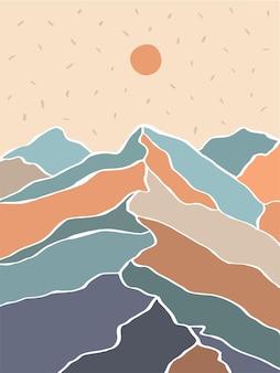 Paesaggio minimale astratto con montagne e sole illustrazione vettoriale piatta disegnata a mano