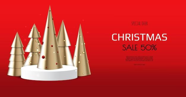 Scena di mock up minimale astratta. forma del podio per l'esposizione del prodotto. fondo bianco di natale di inverno con il contenitore di regalo.