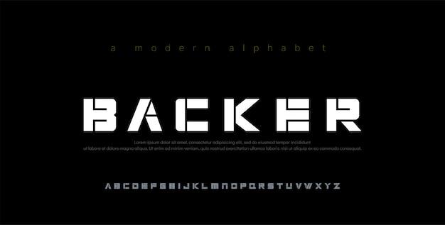 Caratteri di alfabeto moderno minimal astratto