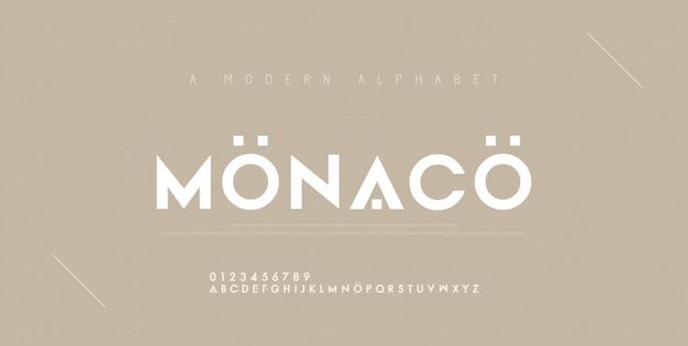 Caratteri di alfabeto moderno minimal astratto.
