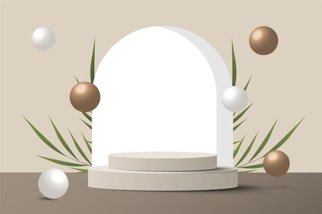 Scena minima astratta su sfondo pastello con podio e foglie del cilindro. vetrina di mockup di palcoscenico per prodotti, banner, vendita, presentazione, cosmetici e sconti. 3d