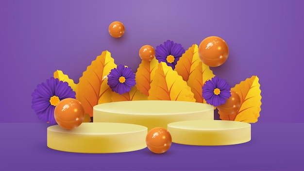 Scena minimale astratta con forme geometriche autunnali. podio cilindrico in sfondo arancione con foglie di piante autunnali. presentazione del prodotto, mockup, spettacolo di prodotto, podio, piedistallo da palcoscenico o piattaforma.