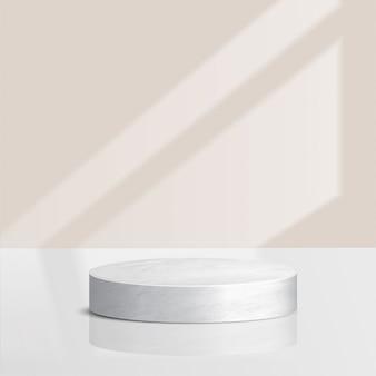 Scena minima astratta con forme geometriche. podio in marmo a cilindro con foglie. presentazione del prodotto. podio, piedistallo o piattaforma. 3d