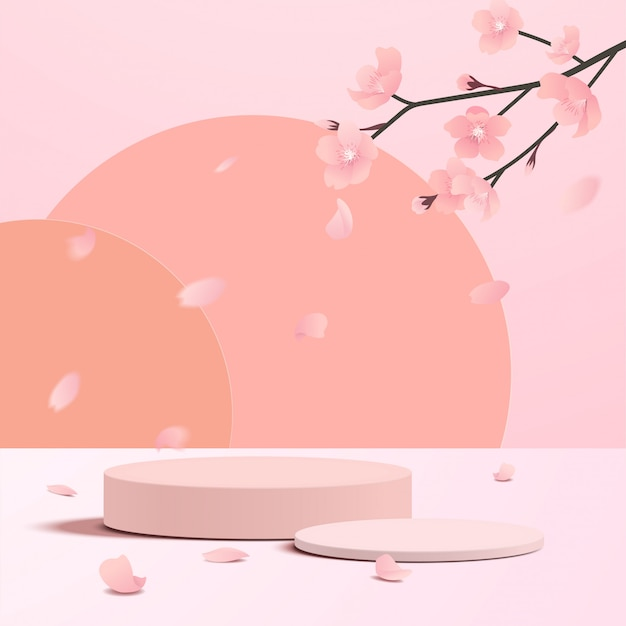 Scena minima astratta con forme geometriche. display a podio cilindrico o mockup vetrina per prodotto in sfondo rosa con fiore di carta sakura.